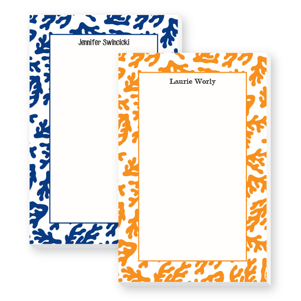 coral border notepads