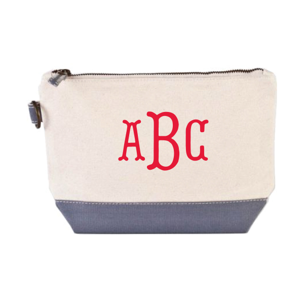 954fe7d42b54 Gray Canvas Cosmetic Bag