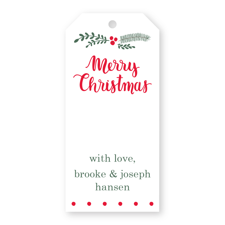 Gift Label Christmas Holly Personalized Gift Sticker