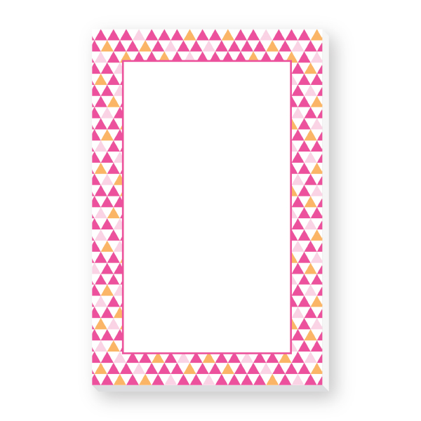 border notepad pink triangles donovan designs